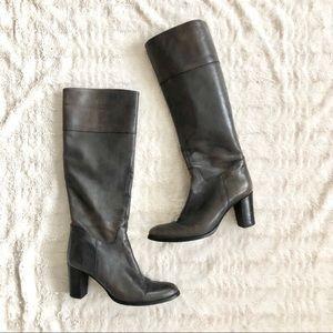 Sesto Meucci Tall Gray Leather Block Heel Boots